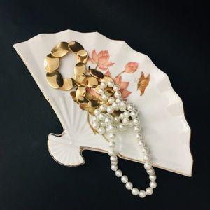 Trinket Jewelry Dish Tray Fine China Fan Japan